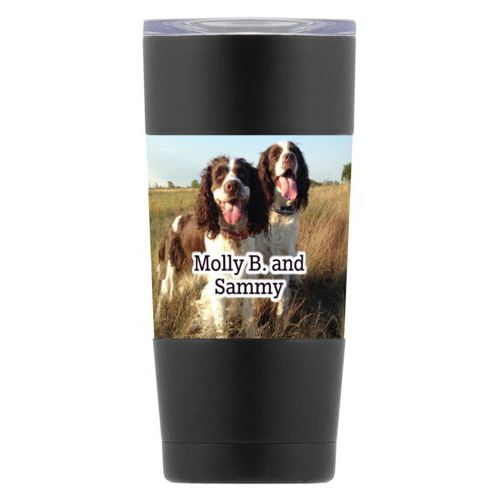 "Personalized insulated steel mug personalized with photo and the saying ""Molly B. and Sammy"""
