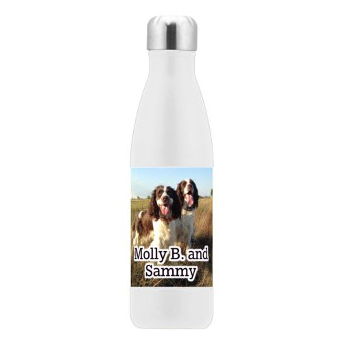 "Metal drink bottle personalized with photo and the saying ""Molly B. and Sammy"""