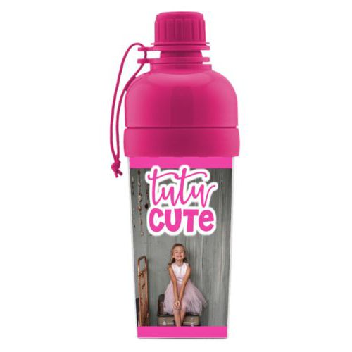 "Water bottle for girls personalized with photo and the saying ""tutu cute"""