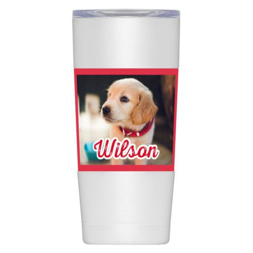 "Personalized insulated steel mug personalized with photo and the saying ""Wilson"""