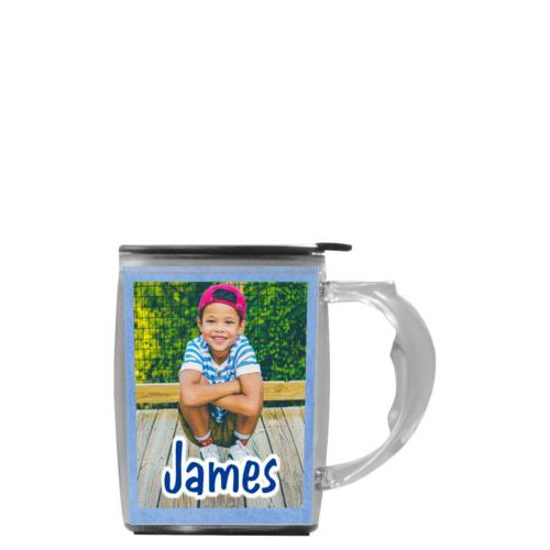"Custom mug with handle personalized with blue chalk pattern and photo and the saying ""James"""