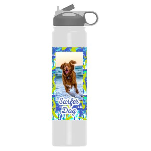 "Personalized water bottle personalized with sup pattern and photo and the saying ""Surfer Dog"""
