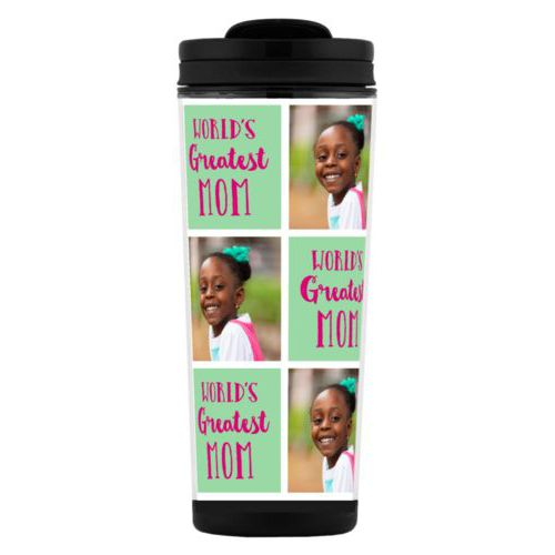"Custom tall coffee mug personalized with a photo and the saying ""World's Greatest Mom"" in pomegranate and spearmint"
