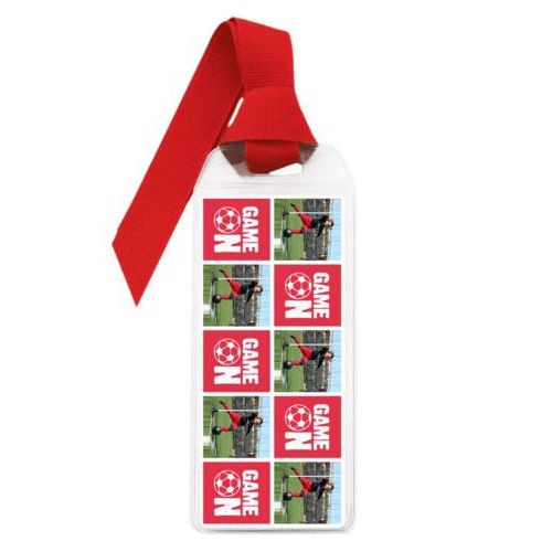 "Personalized book mark personalized with a photo and the saying ""Game On"" in cherry red and white"