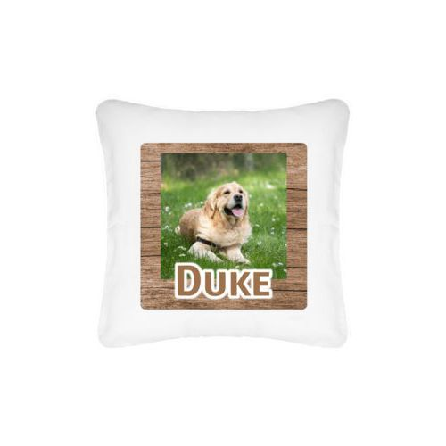 "Personalized pillow personalized with brown wood pattern and photo and the saying ""Duke"""