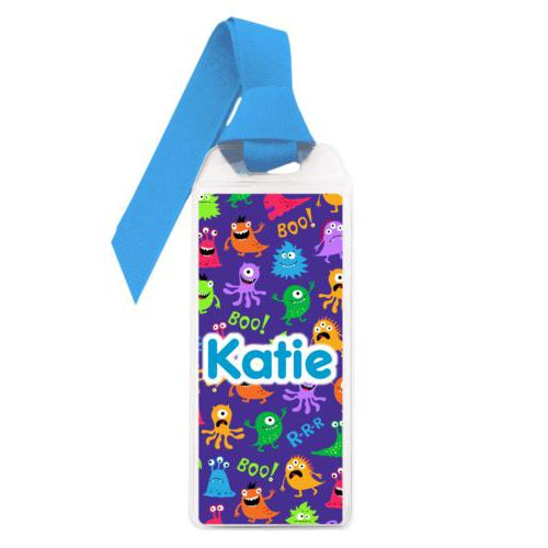"Personalized book mark personalized with monsters pattern and the saying ""Katie"""