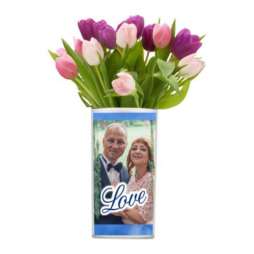 "Personalized vase personalized with blue cloud pattern and photo and the saying ""love"""