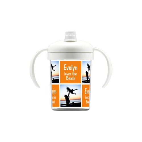 "Personalized sippycup personalized with a photo and the saying ""Evelyn loves the Beach"" in juicy orange and white"