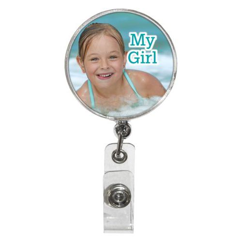 "Personalized badge reel personalized with photo and the saying ""My Girl"""