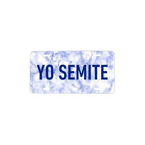 "Personalized license plate personalized with blue marble pattern and the saying ""YO SEMITE"""