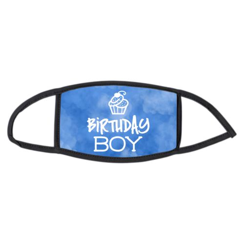"Custom face mask personalized with blue cloud pattern and the saying ""birthday boy"""