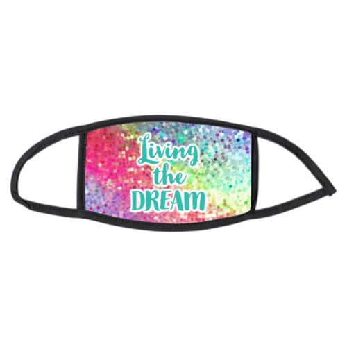 "Face masks personalized with glitter pattern and the saying ""Living the Dream"""