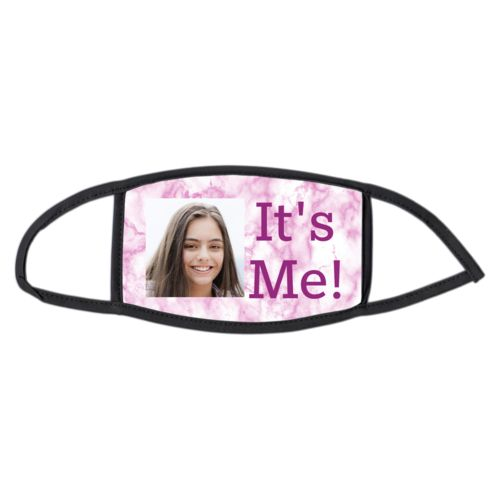 "Face masks personalized with pink marble pattern and photo and the saying ""It's Me!"""
