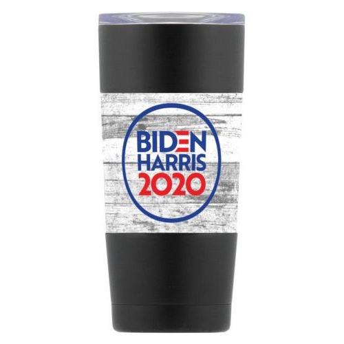 "20oz double-walled steel mug personalized with ""Biden Harris 2020"" round logo on wood grain design"