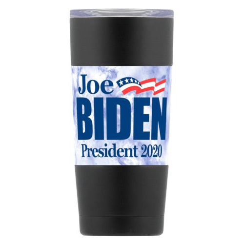 "20oz insulated steel mug personalized with ""Joe Biden President 2020"" logo on cloud design"