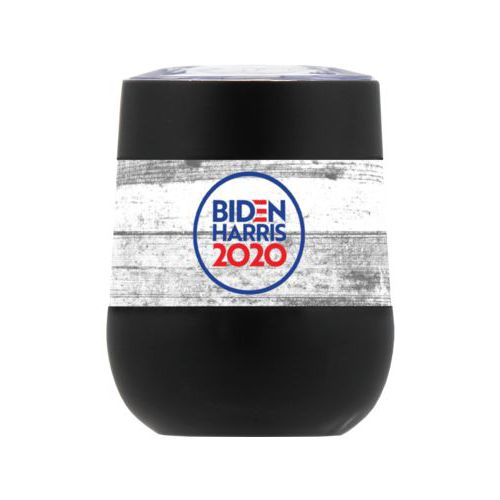 "Personalized insulated steel 8oz cup personalized with ""Biden Harris 2020"" round logo on wood grain design"