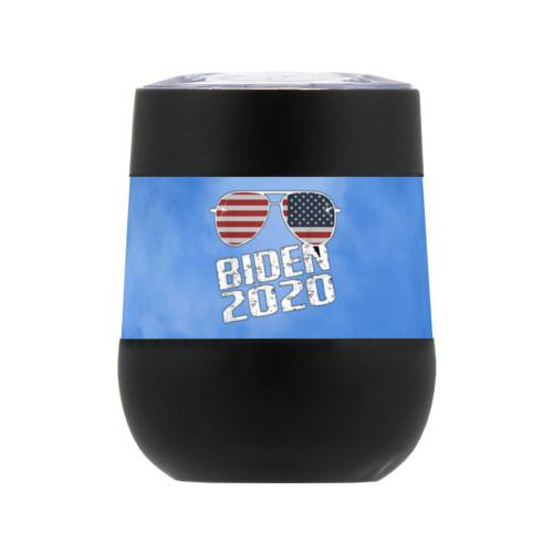 "Personalized insulated steel 8oz cup personalized with ""Biden 2020"" sunglasses on blue cloud design"