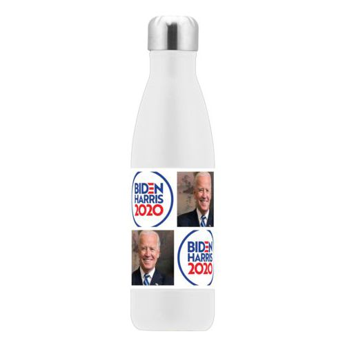 "17oz insulated steel bottle personalized with ""Biden Harris 2020"" round logo and Biden photo tile design"