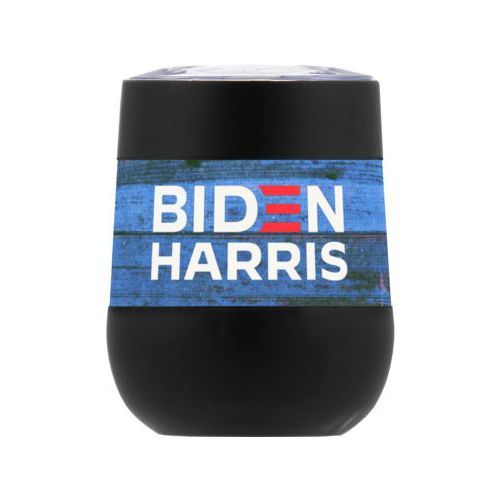 "Personalized insulated steel 8oz cup personalized with ""Biden Harris"" logo on blue wood design"