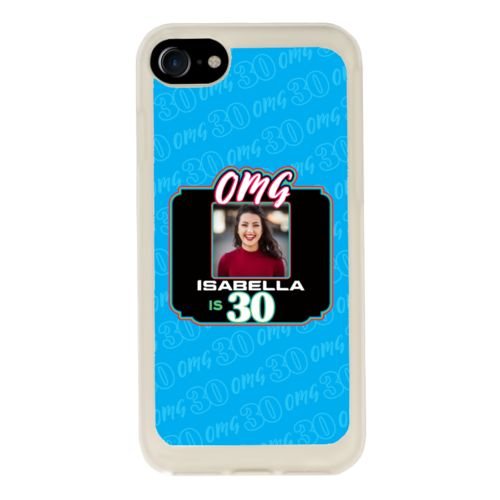 "Personalized with ""OMG - Is 30"" and a photo and a name"