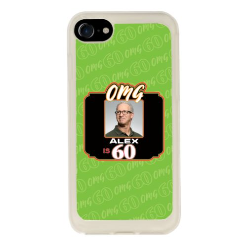 "Personalized with ""OMG - Is 60"" and a photo and a name"