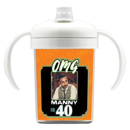 "Personalized with ""OMG - Is 40"" and a photo and a name"