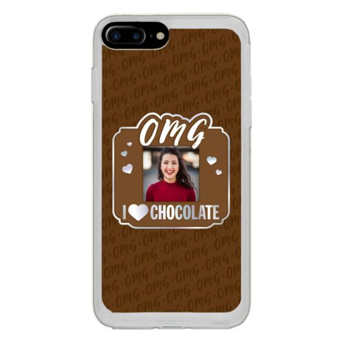 "Personalized with ""OMG I love chocolate"" and a photo"